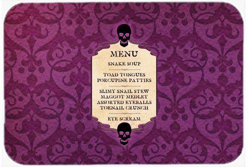 Goulish Menu Including Eye Screen Snake Soup Halloween Kitchen/Ba Mat