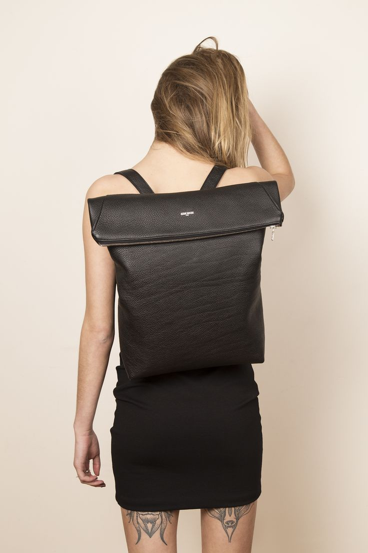 Model with our leather backpack ZACK. www.jeromebocchio.com