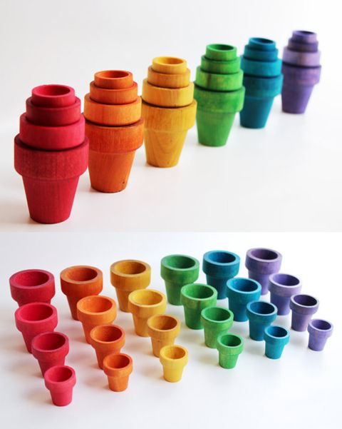Create nesting pots for sorting with inexpensive clay or wooden pots and painting them in sets of matched colors.