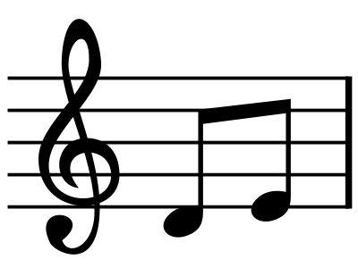 Silueta, nota musical, clave de sol y partitura. Silhouette.