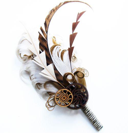 #Steampunk Wedding Theme | Steampunk Weddings | Theme Weddings | Jevel Wedding Planning ♥ // Feathers are cut geometrically.