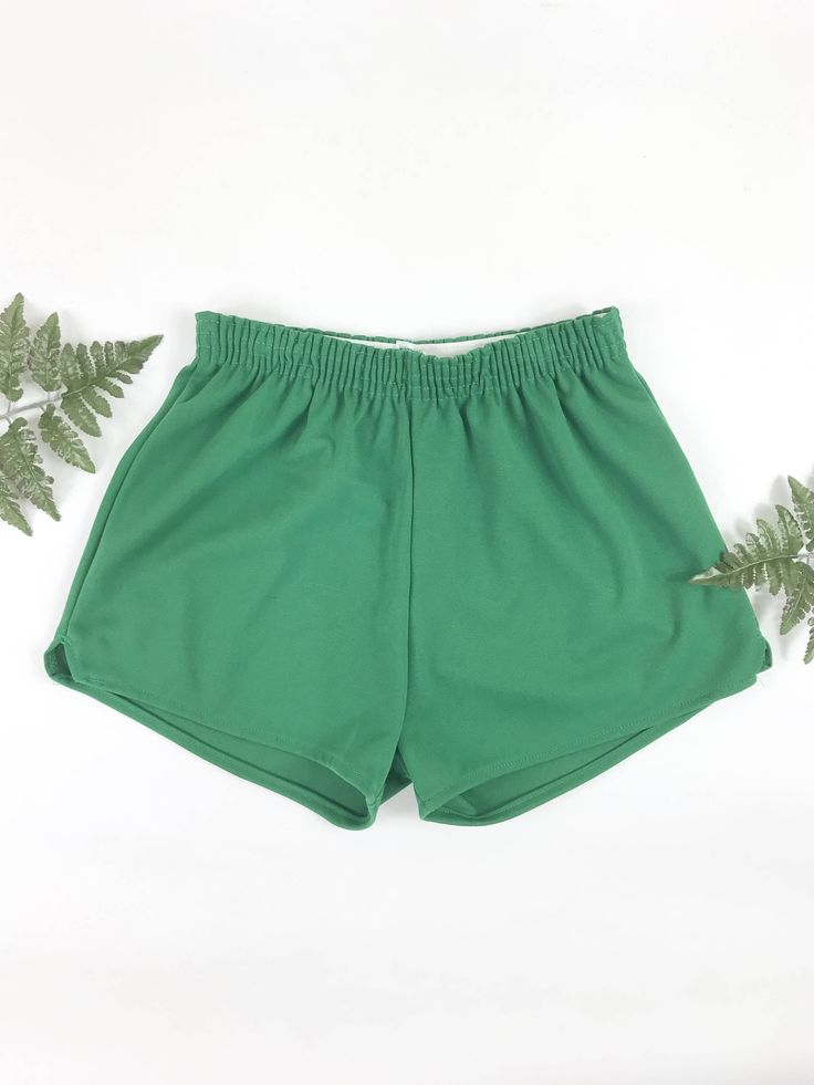 1980s athletic shorts, vintage NOS high waisted shorts, retro sporty hot pants, 80s sportswear, green shorts by JoyDestroyVintage on Etsy