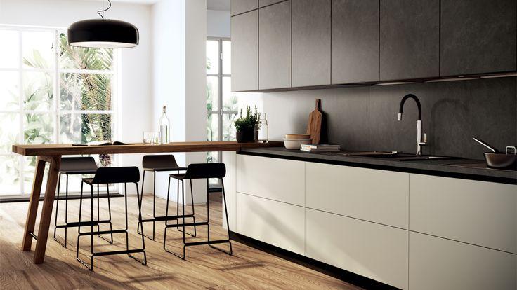 Kitchen Scenery Scavolini Like: Handless drawers. Angled legs for breakfast bar Seems like matt white finish