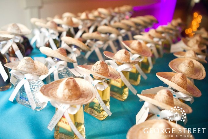 cinco de mayo favors - mini tequila bottles with sombreros and printed ribbon