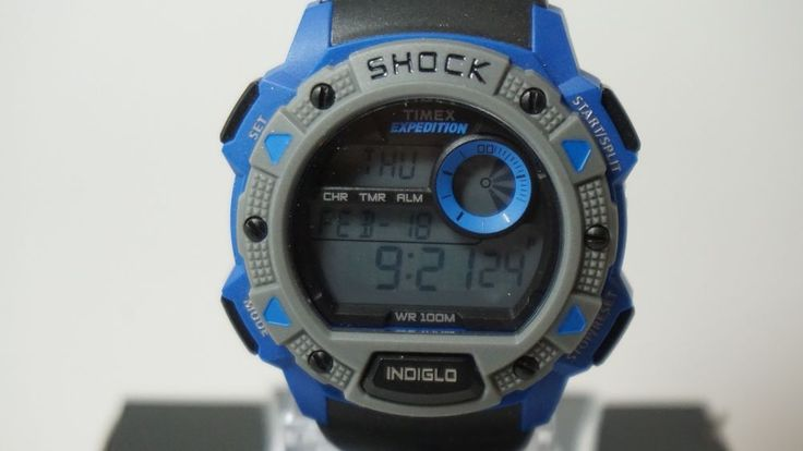 New Timex Men's SHOCK Expedition INDIGLO Black/Blue Resin Band Watch #TW4B00700 #Timex #Casual