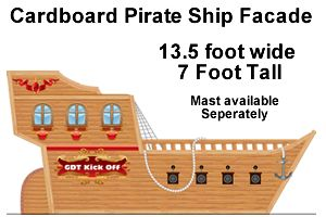 Commercial pirate ship prop - use as visual reference for creating homemade cardboard pirate ship for birthday party activity