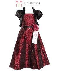 Girls Burgundy Satin Party Dress