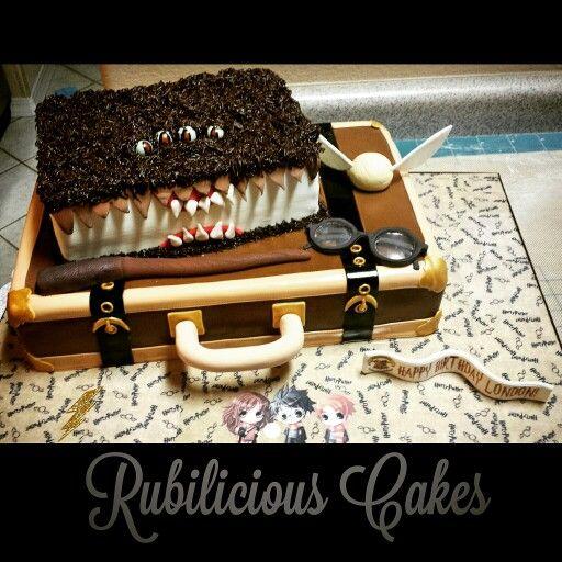 Harry Potter themed birthday cake. Custom made board, and isomalt ...
