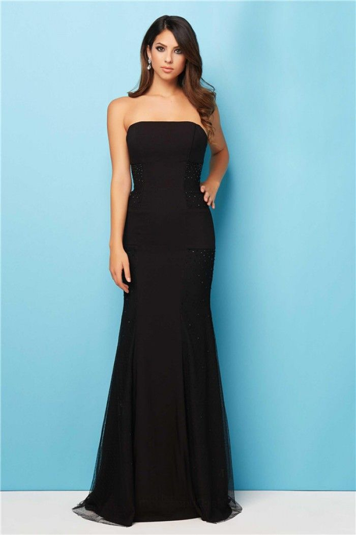 Simple Mermaid Strapless Long Black Chiffon Tulle Beaded Evening Prom Dress