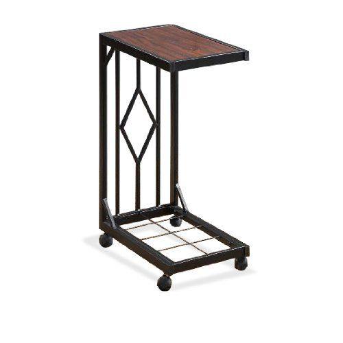 Espresso Wood Veneer Tv Dinner Snack Tea Tray Table End Side Sofa Black Metal Storage Caddy
