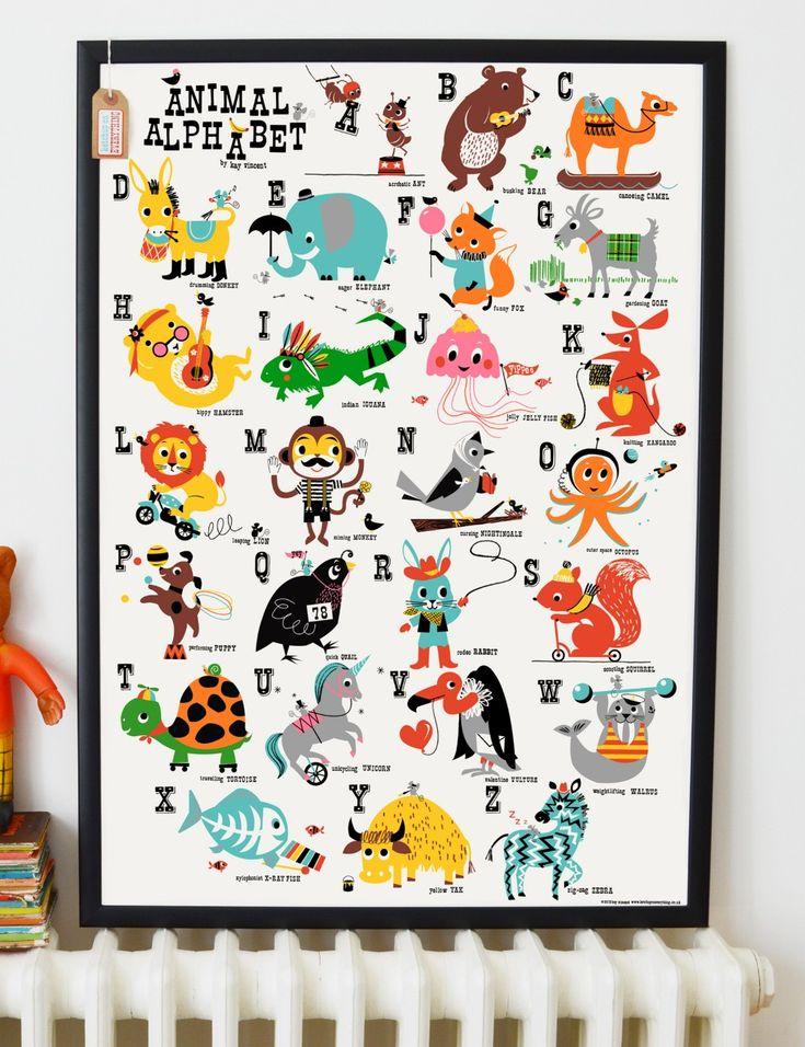Animal Alphabet Children's Nursery Print from Rose & Grey, print