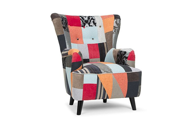 The Victoria Chair Patchwork is a cheeky funky chair that will be the focal point of any living space.   It's vibrant colours are both warm and playful and make it the ideal sofa for colour versatility.   Inspired by 1950s retro look it will sit effortlessly in any contemporary setting.   The button back finish compliments the patchwork detail superbly.
