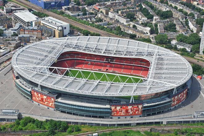 An aerial photograph of Arsenal Football Club�s Emirates Stadium, North London