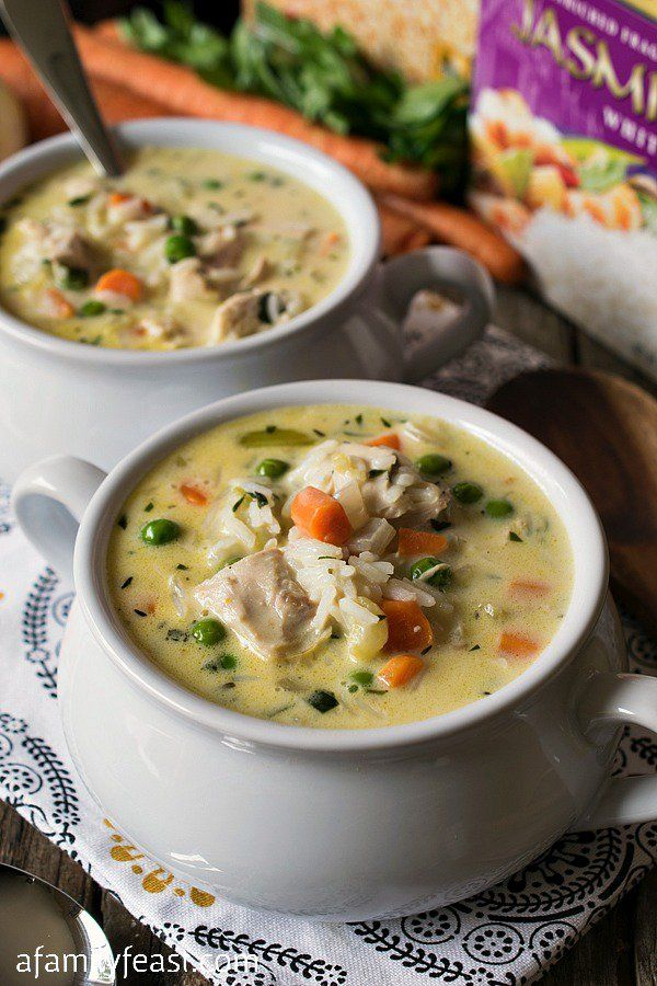 Creamy Chicken and Rice Soup - This delicious and hearty soup only ...