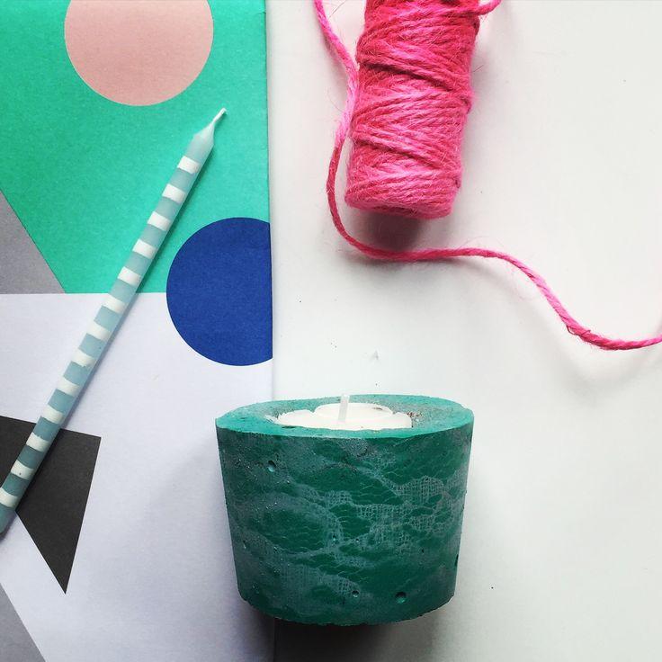 Green and blue lace print concrete tea light holder @bellsandwhistlesmake.com