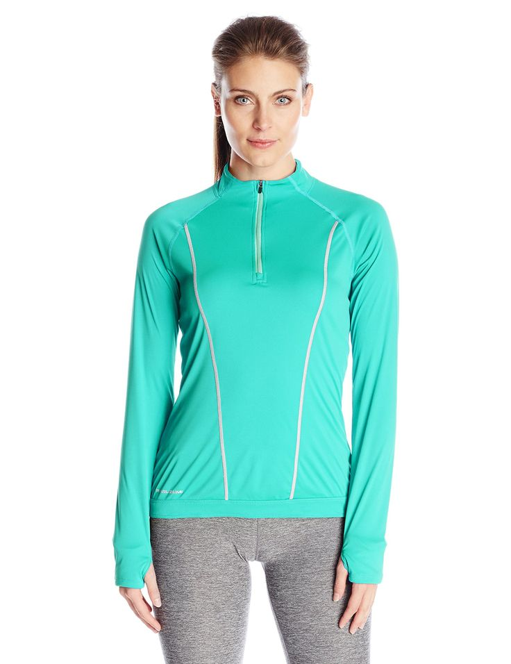 Pearl iZUMi Women's Pursuit Long Sleeve Top, Viridian Green/Aqua Mint, Small. 100% Polyester. Imported product. Lightweight transfer dry fabric with Ice Fil Treatment provides superior moisture transfer and added cooling. Internal fist Mitts seal in warmth. Strategically placed Mesh material for ventilation.