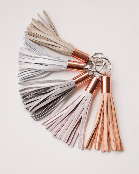 Large Leather Tassel Keychain / Copper Rose Gold/ White Grey Pink Blush Nude