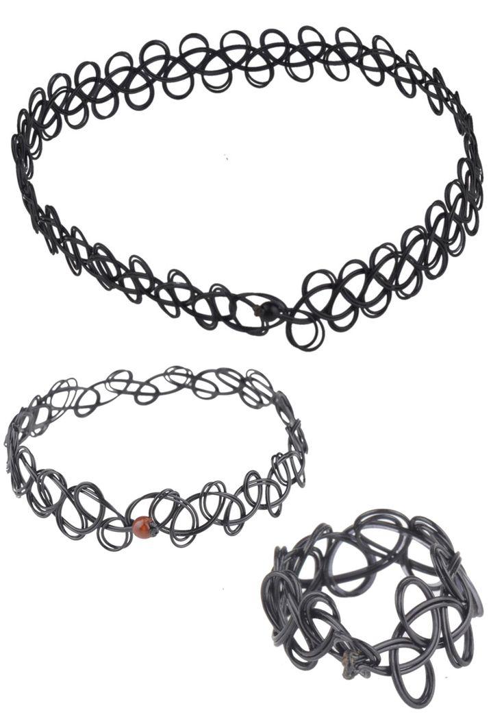Set van elastische tattoo choker/halsketting, armband en ring