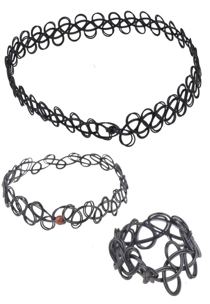 Set van elastische tattoo choker/halsketting, armband en ring