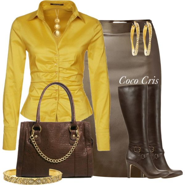 """Yellow and Brown"" by mscococris on Polyvore"
