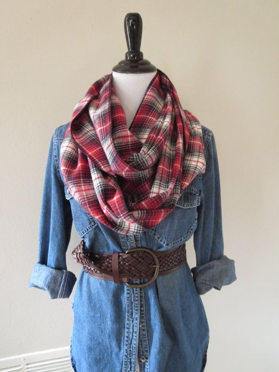 Tartan Plaid Scarf Flannel Scarf Red Plaid by OohBabyInfinity #flannelscarf #plaid #tartan