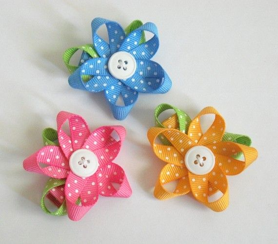 Ribbon & Button Flowers for my girlies!! Visit & Like our Facebook page! https://www.facebook.com/pages/Rustic-Farmhouse-Decor/636679889706127