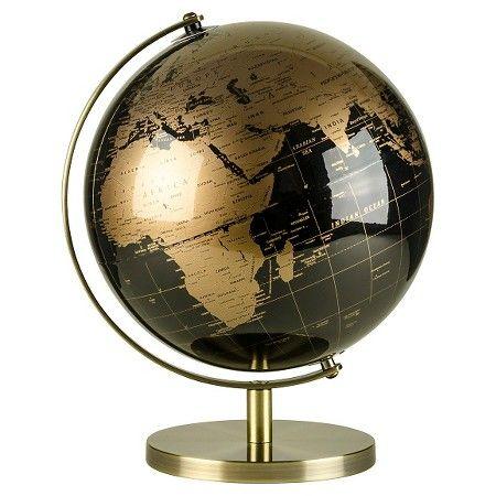 black and rose gold globe dimensions 13 h - Decorative Globe