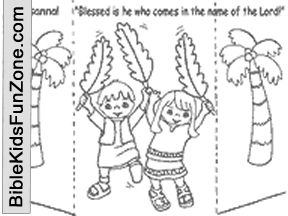 Free printable Palm Sunday craft - stand-up picture of children waving palm branches, with palm trees in the background.