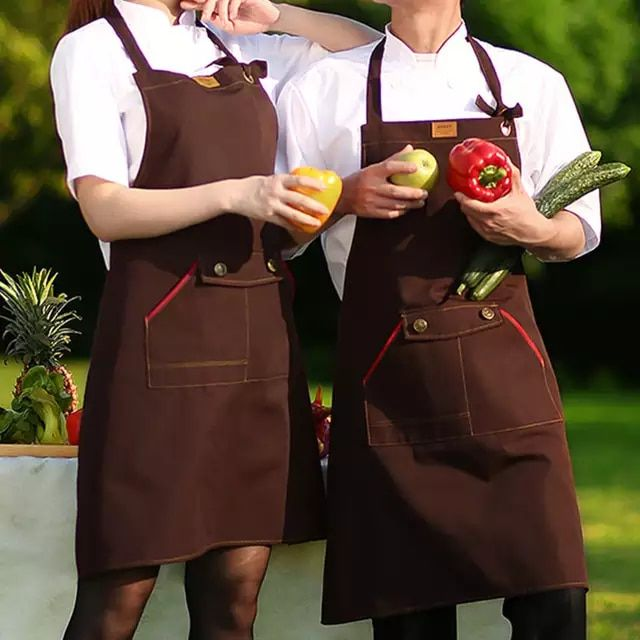 UK Half Apron Poly Pocket Chefs Restaurant Kitchen Cooking Craft Catering Baking