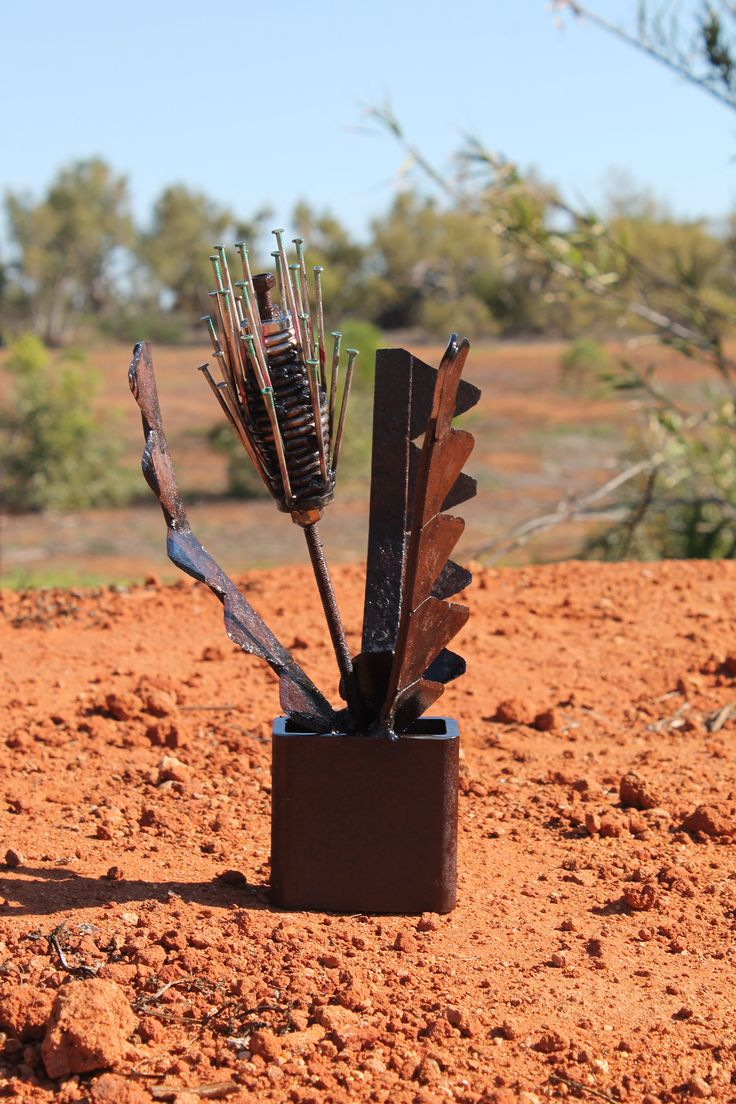 Banksia flower scrap metal recycled art sculpture 'Victoriae' by Livingexistence on Etsy