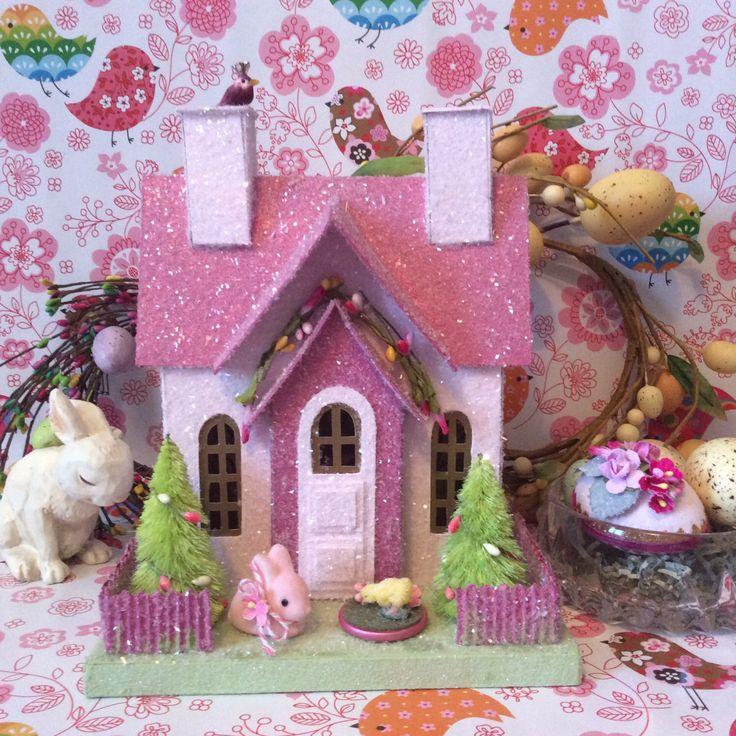 Putz Glitterhouse  Easter Cottage(Large)Glitterhouse with Pink Bunny by glitteratmidnight on Etsy https://www.etsy.com/listing/224966387/putz-glitterhouse-easter