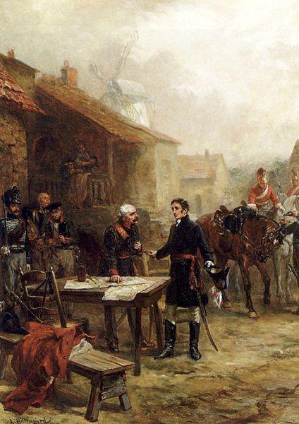 Wellington and Blucher Meeting Before the Battle of Waterloo. Robert Alexander Hillingford