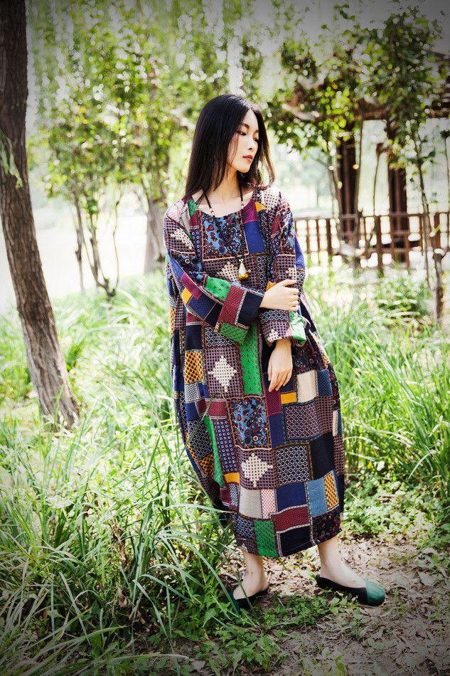 Linge femmes lâche de coton robe de doublure manches longues raccord - Tkdress - 2