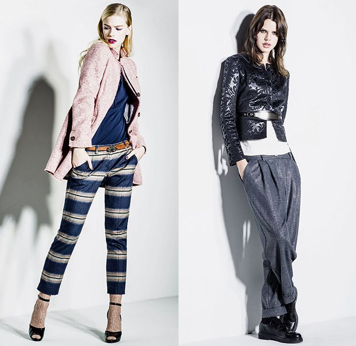 Sisley Italy 2014-2015 Fall Autumn Winter Womens Lookbook Collection - Denim Jeans Destroyed Destructed Quilted Leather Outerwear Ombre Bleached Knit Crinkles Belted Waist Wide Leg Trousers Pants Culottes Gauchos Windowpane Check Blazer Abstract Sweater Jumper Flowers Florals Brocade Pantsuit Silk Waistcoat Vest Leggings Tights Shorts Leopard Furry Accordion Pleats Bomber Jacket Midi Skirt Lace Ruffles Dress Shirtdress Plaid
