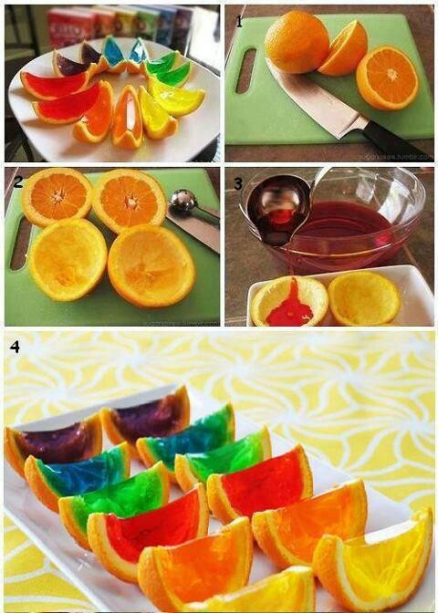 Jello slices ... Would also be cool as  jello shots! Just a thought ...