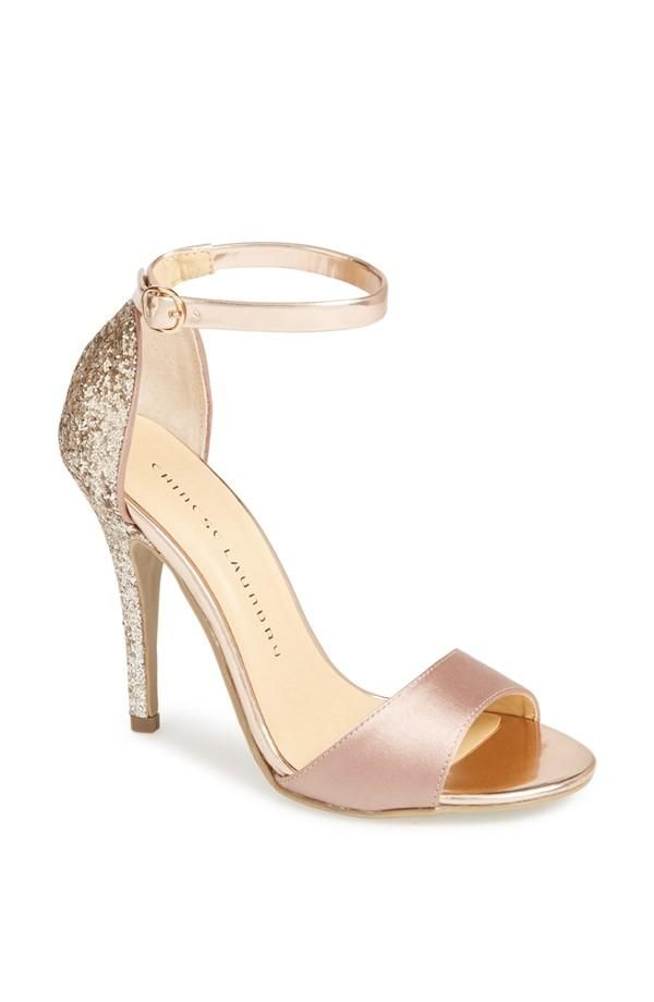 Sparkly glitter on a prom shoe is always a good idea! rose gold Lucky Charm sandal