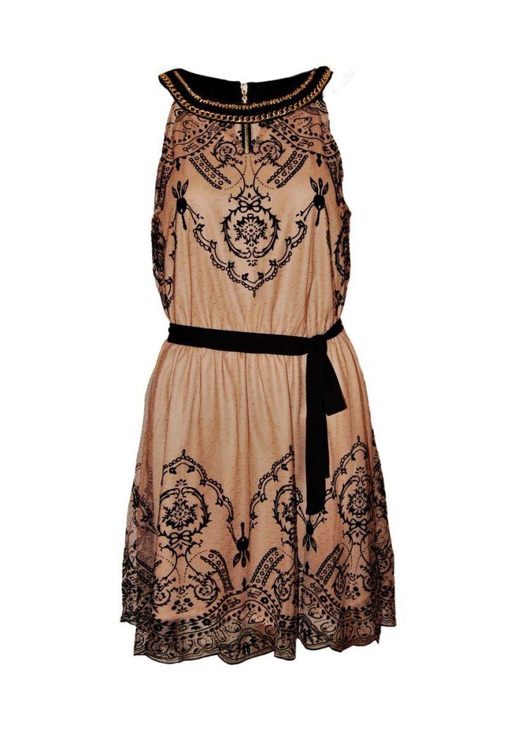 Espectacular vestido corte griego ideal para velada elegante | Vestido corto, de encaje transparente con blondas, bordados en negro