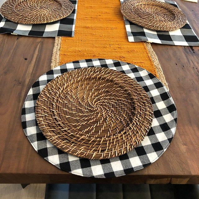Round Placemat Buffalo Plaid Etsy Placemats Buffalo Plaid Fabric Buffalo Plaid
