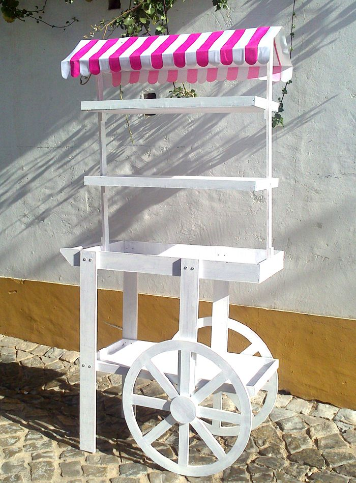 Tall Shabby Chic Display Cart 077 This gorgeous tall shabby chic cart is ideal to display jars of sweets, wedding favours, welcome drinks or vases of flowers ~ it's made from wood and is very sturdy, with plenty of shelving for all your needs…ahhh we LOVE it ♥ The price quoted includes assembly of the cart on delivery, and disassembly on collection. €70