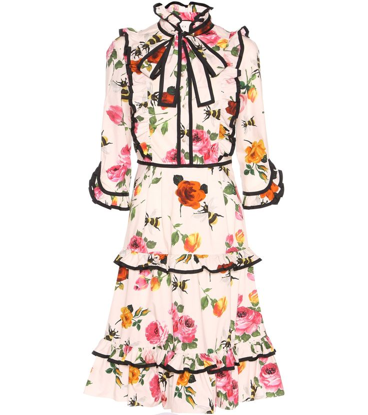 GUCCI Ruffled floral-printed cotton dress