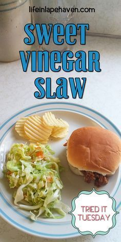 Tried It Tuesday: Sweet Vinegar Slaw - Life in Lape Haven. This vinegar based cole slaw is one of my favorite summer sides. It's sweet, sour, tangy, crunchy, and yummy. Perfect for potlucks, picnics, and family gatherings, it works well in the heat and feeds a crowd. Delicious on pulled pork or barbecue!