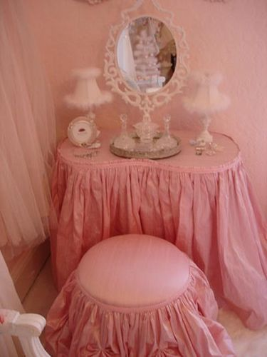 adorable pink dressing table with cute stool!