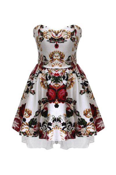 Vintage printed strapless dress with transparent shoulder strap dress