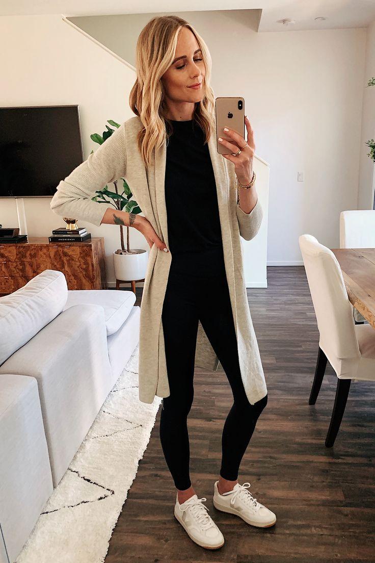 Fashion Jackson Wearing Nordstrom Sale Beige Long Cardigan Black Tshirt Madewell…