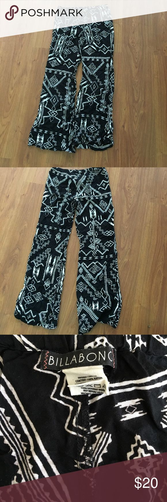 Billabong Beach Pant Black and white Aztec print Billabong pants. 100% Rayon material and very light and flowy. Is a bit tight around waist and thighs. Billabong Pants