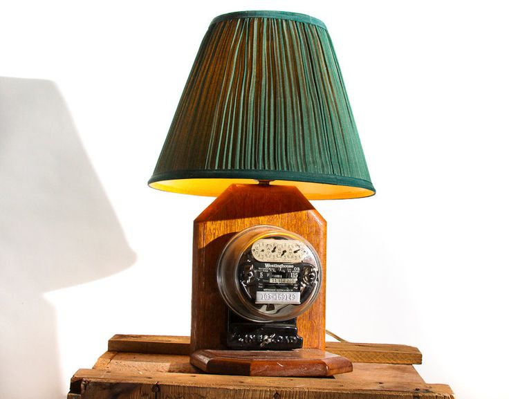 Vintage Westinghouse Electric Meter Lamp with Shade Rustic Industrial Lighting Steampunk Table Lamp Wooden Base Unique Re Table Lamp