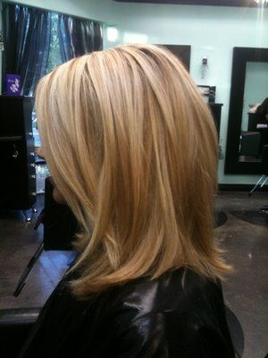 Long Bob --pretty highlights, too! I'm thinking about getting my hair cut???