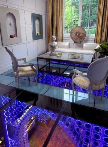 Glass floor, looking down at wine cellar in basement!Modern House Design, Interiors, Pools House, Living Room, Pool Houses, Glasses Floors, Sitting Room, Wine Room, Wine Cellars