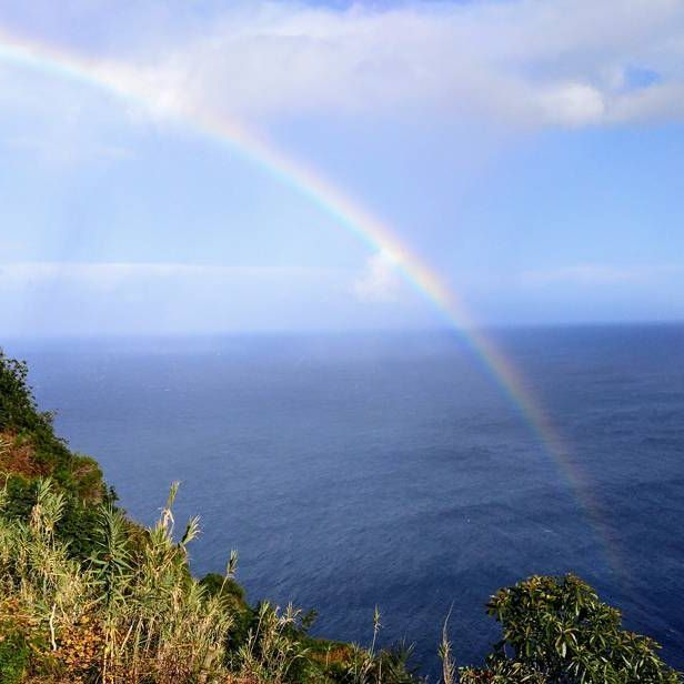 In Madeira weather changes rapidly and the most of the times at the winter the rain is as close as sunshine. This mighty rainbow almost touched the terrace where we had a lunch.  #rainbow #madeira #portugal #landscape #seascape #mountains #travelblog #timokiviluoma