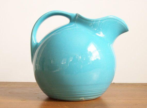 Harlequin Fiesta Ball Pitcher Aqua or Turquoise by tatterandfray, $32.00